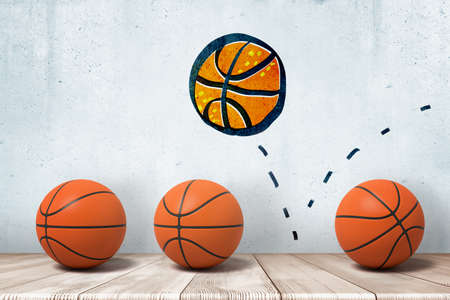 3d rendering of three basketballs in a row on wooden floor and a wall drawing of one more basketball with a dashed bounce-off line. Reklamní fotografie