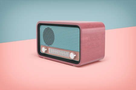 3d rendering of realistic retro radio set with a round fm-knob stands on a two-colored background. Reklamní fotografie