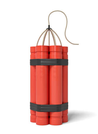 3d rendering of a bundle of dynamite sticks standing upright on a white background. Explore depths of Earth. Explosive works. Dynamite supplies.