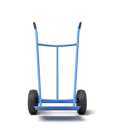 3d rendering of blue hand truck, standing position, isolated on white background Stockfoto