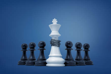 3d rendering of a group of black pawns which have taken captive and enchained a white king piece.