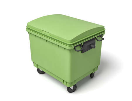 3d rendering of green trash bin isolated on white background
