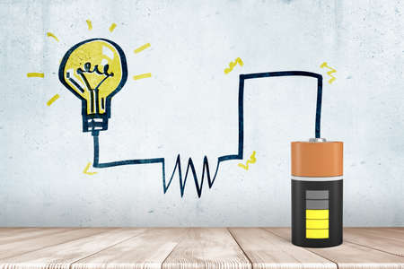 3d rendering of animated half charged battery with a drawn circuit diagram to a drawn lightbulb Stock fotó