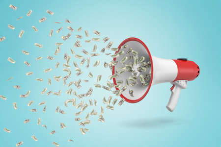3d rendering of money dollars flying out of white red megaphone on blue background Stock Photo - 117291691