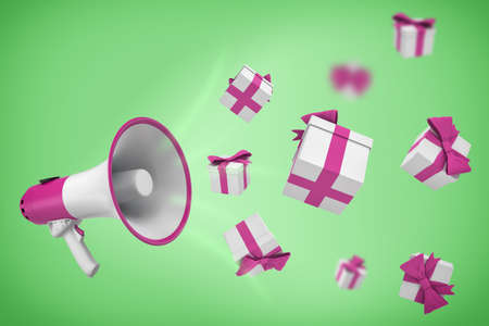 3d rendering of white and violet megaphone hangs on a green background with many gift boxes flying out from it. 写真素材