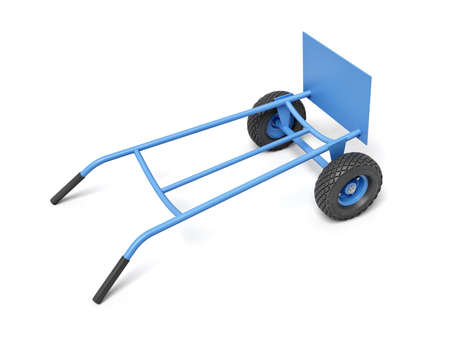 3d rendering of a blue hand truck with its handles down on a white background.