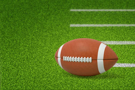 3d rendering of a ball for American football lying on green pitch grass with white lines on the right and with copy space on the left.