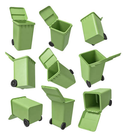 3d rendering of a set of nine light-green trash cans isolated on white background.