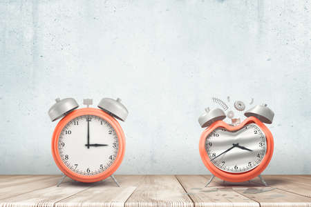 3d rendering of a working silver red alarm clock and a damaged one on white wooden floor and white wall background Imagens