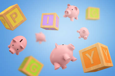 3d rendering of set of piggy banks and ABC blocks