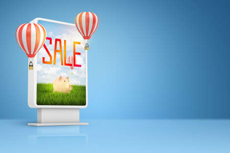 3d rendering of vertical billboard with piggybank, SALE sign on it and hot air balloons on blue background