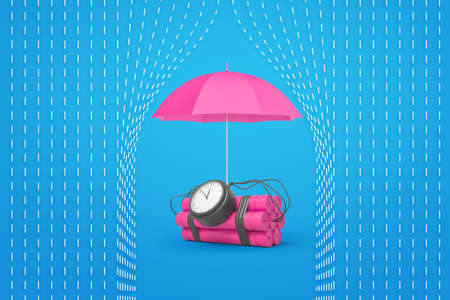 3d rendering of a pink dynamite bundle with a time bomb and a pink umbrella protecting it from rain.