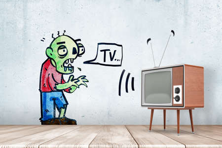 3d rendering of room with retro TV set and drawing of green zombie on wall uttering word TV in speech bubble.