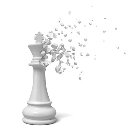 3d rendering of white king chesspiece starting to dissolve into pieces on white background.
