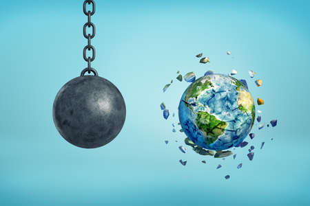 3d rendering of metal chained ball and earth sphere shattered