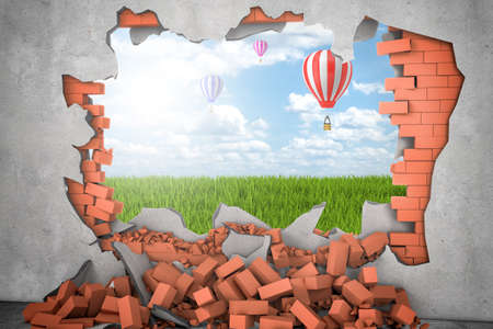 3d rendering of hot air ballon in the sky above green grass seen through a gap in red brick wall. Building and construction. Nature and environment. Demolition and destruction. Banque d'images - 118549631