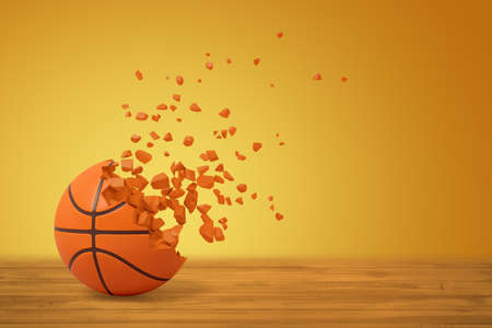 3d rendering of basketball dissolving into particles on one side, on wooden surface on yellow background with much copy space.
