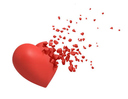 3d rendering of red heart shattering into small pieces isolated on white background