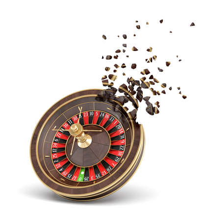 3d rendering of casino roulette shattering into small pieces isolated on white background.