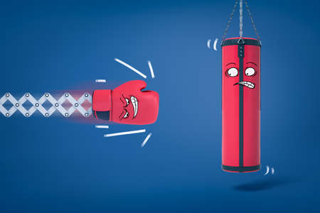 3d rendering of boxing glove about to hit punching bag, both with funny cartoon faces. Фото со стока