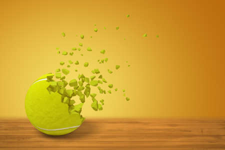 3d rendering of a tennis ball lying on wooden surface and starting to disintegrate on yellow background with much copy space.