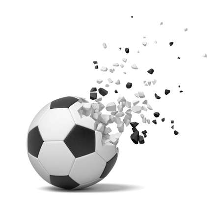 3d close-up rendering of football starting to break into pieces and disappear on white background.