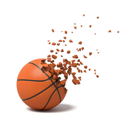 3d rendering close-up of basketball starting to dissolve into pieces on white background.