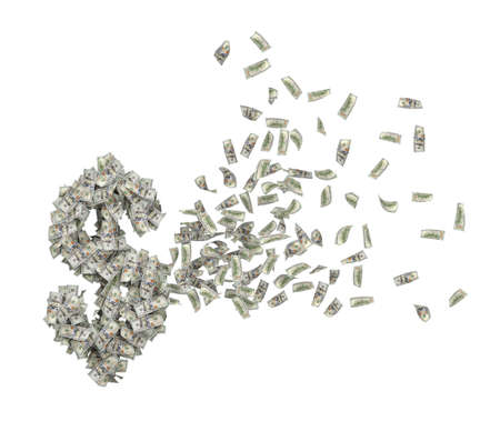 3d rendering of heap of dollars in air rearranging in shape of big dollar symbol isolated on white background. Фото со стока
