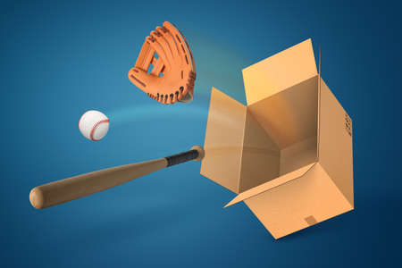 3d rendering of a baseball, a baseball bat and cap, and an empty cardboard box on blue background.
