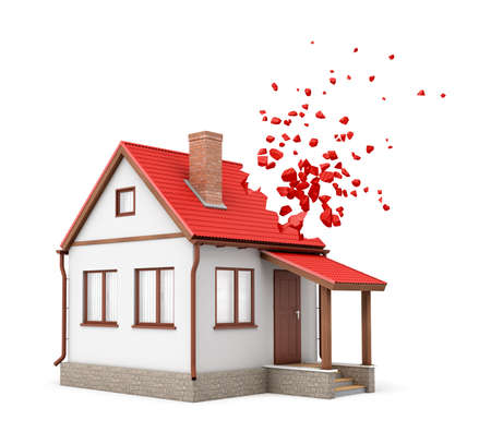 3d rendering of one-storeyed detached house with chimney starting to dissolve into pieces from one side of its red roof isolated on white background.