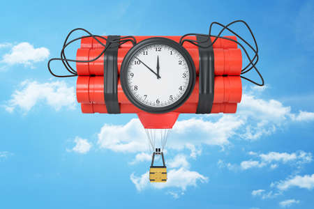 3d rendering of a dynamite bundle with a time bomb and with a little hot-air balloon gondola attached to it in the blue sky.