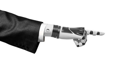 3d rendering of robotic hand in business suit pointing a finger isolated on white background