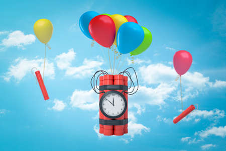 3d rendering of tnt dynamite time bombs with colorful balloon in the air with blue sky and white clouds on the background Stock Photo
