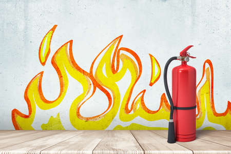 3d rendering of a fire extinguisher standing at the wall with the drawing of flames on it.