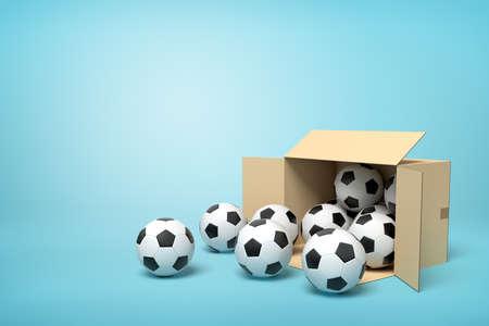 3d rendering of cardboard box full of footballs on blue background. 写真素材