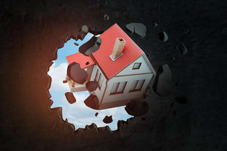 3d rendering of detached house with red tiled roof breaking through black wall with blue sky peeking through hole.