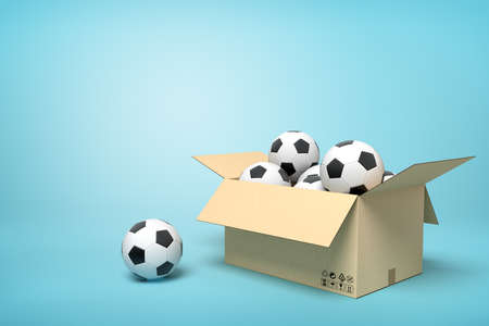 3d rendering of cardboard box full of footballs and one football beside on light-blue background.