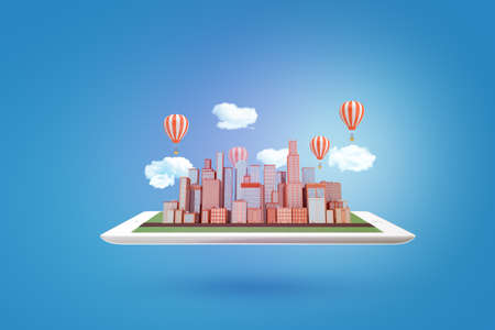 3d rendering of city skyscrapers model with clouds and air balloons on tablet on blue background Imagens