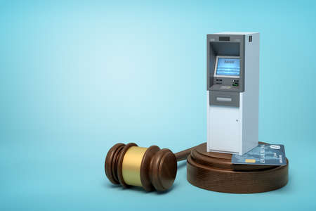 3d rendering of brown wooden gavel with ATM machine and bank card on round wooden block on blue background.