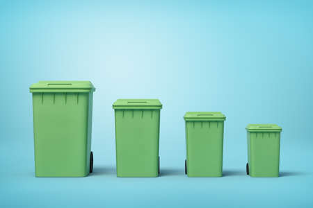 3d rendering of four green trash cans in a row according to size from biggest to smallest on light-blue background. Archivio Fotografico