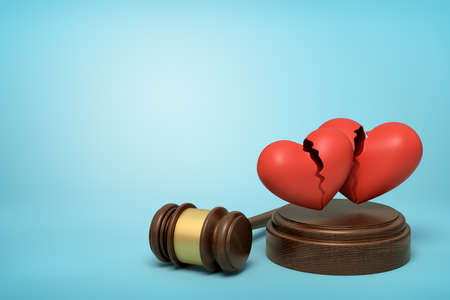 3d rendering of brown wooden gavel and two red broken hearts on round wooden block on blue background Stockfoto