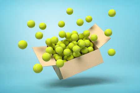 3d rendering of cardboard box full of tennis balls in mid-air on light-blue background.