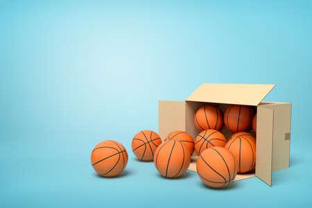 3d rendering of cardboard box lying sidelong full of basketballs on light-blue background.