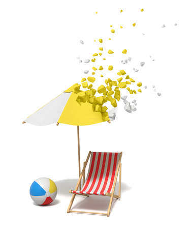 3d rendering of striped beach chair, wind ball, and beach sunbrella which is starting to dissolve into pieces from its top on white background.