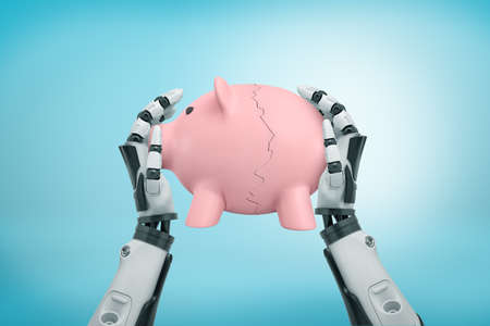 3d rendering view from above of robot hands holding tight piggy bank broken in halves on light-blue background.