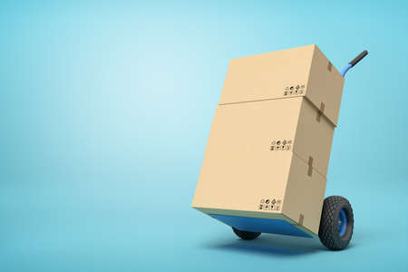 3d rendering of cardboard boxes on a hand truck on blue background Stockfoto