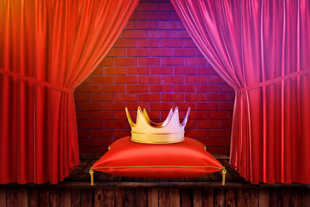 3d rendering of golden crown on a cushion with red curtains and red brick wall background 免版税图像