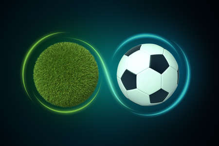 3d rendering of a sphere covered in green lawn grass next to a football with a line traced around them forming the infinity sign.