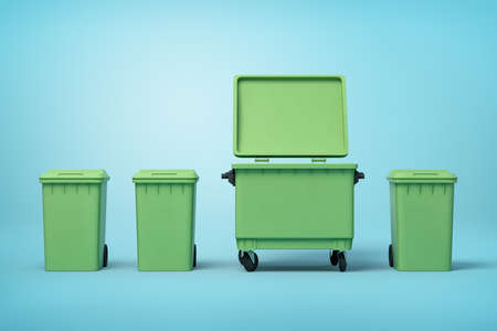 3d rendering of four green trash cans standing in row on light-blue background, three smaller cans closed and one big can open. Foto de archivo