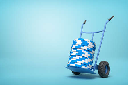 3d rendering of stack of blue and white poker chips on blue hand truck on light-blue background with copy space.